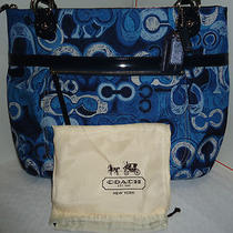 Brand New With Tag Coach Poppy Sig Denim Print Blue/multi-Color Glam Tote 19881 Photo