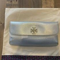Brand New With Tag Tory Burch Diana Slim Silver Clutch With Gold Hardware Photo