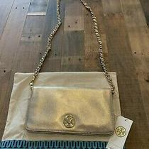 Brand New With Tag Tory Burch Metallic Adalyn Gold Clutch With Chain Strap Photo