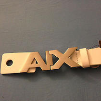 Brand New With Tags Armani Exchange Ax Mens White Logo Hinge Leather Belt Sz 32 Photo