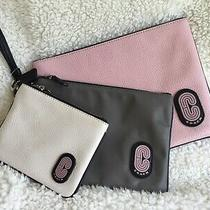 Brand New With Tags Coach 3 Piece Wristlet Set Pink/grey/chalk With Detachable S Photo