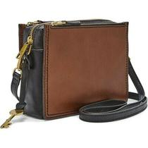 Brand New With Tags Fossil Campbell Crossbody - Brown/black Brown & Black - Photo