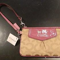 Brand New Woman's Coach Patent Leather Canvas Wristlet Pink Brown Rare Look Photo