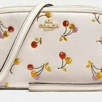 Brand Nwt Coach Sparkle Cherry Print Leather Crossbody Clutch  Gold Chalk 195 Photo