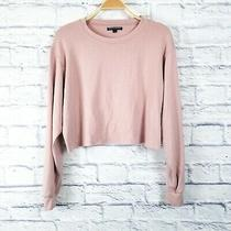 Brandy Melville Osfa Blush Pink Long Sleeve Crop Sweatshirt Photo