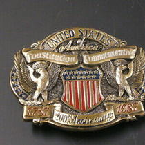 Brass Belt Buckle - 200th Usa Constitution Commemorative - 1987 - Ex. Photo