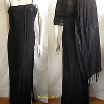 Breathtaking Akris Black Chiffon Ruched Ribbons Gown With Shawl  Wearable Art Photo