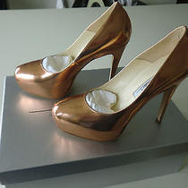 Brian Atwood 35 1/2 Maniac Metallic Rose Gold Platform Shoes Never Worn Sold Out Photo