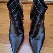 Brian Atwood Black Leather High Heeankle Boots With Crossover Strap Size 38 1/2 Photo