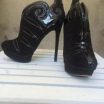 Brian Atwood Figara Ankle Booties Suede Platform Stiletto Boots Patent Leather Photo