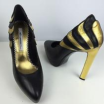 Brian Atwood for Lwren Scott Black Leather & Gold Trim Nib 890 Sz 10 Shoes Photo