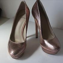 Brian Atwood Rose Gold Fontanne 5 1/2 Inch Heel Platform Pumps Size 6/36 Photo