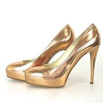 Brian Atwood Rose Gold Leather Platform Pump Shoes Size 41 Italy 32-334 Photo