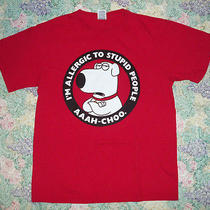 Brian Griffin Family Guy i'm Allergic to Stupid People Red T-Shirt Sz Medium Photo