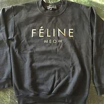 Brian Lichtenberg Black Gold Foil Celine Feline Meow Unisex Sweater Size S 109 Photo