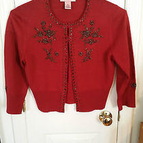 Brick Red Sweater With Bronze Beading by Bandolino Size Medium- Free Shipping Photo