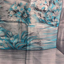 Brico Aqua Coastal City Scene Silk Scarf Photo