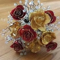 Bridal Boutique Red Lacquer Gold Trim Full Gold Dipped Roses Swarovski Crystal Photo