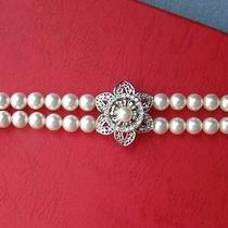 Bridal Bracelet 2 Strands Wedding Bracelet White Swarovski Pearl Bracelet B140 Photo