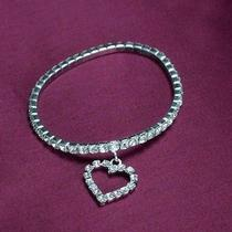Bridal Bracelet Silver Stretch With Dangling Heart Swarovski Rhinestone Elements Photo