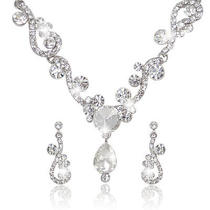 Bridal Bridesmaid Clear Necklace Earring Set Swarovski Crystal Flower Teardrop  Photo