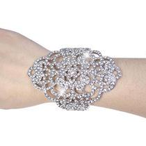 Bridal Bridesmaid Flowerl Huge Bracelet Bangle Clear Swarovski Crystal Cuff Photo