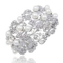 Bridal Bridesmaid Party Leaf Faux Pearl Cuff Bracelet Swarovski Crystal Photo