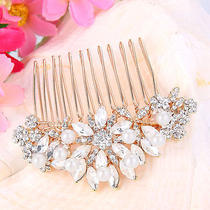 Bridal Bridesmaid Pearl 2.5'' Hair Comb Austrian Crystal Clear Rose Gold Ltone Photo