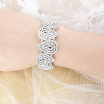 Bridal Bridesmaid Triple Layers Drop Bracelet Bangle Clear Swarovski Crystal Photo