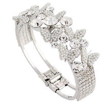 Bridal Butterfly Pearl Drop Bangle Cuff Bracelet Clear Swarovski Crystal Photo