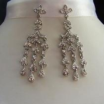Bridal Chandelier Earrings Clear Swarovski Crystal E2149 Photo