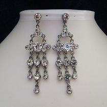 Bridal Chandelier Earrings Clear Swarovski Crystal Party Earrings E2137c Photo