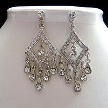 Bridal Chandelier Earrings Clear Swarovski Crystal Wedding Earrings E2174 Photo