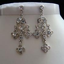 Bridal Chandelier Earrings Clear Swarovski Crystal Wedding Earrings E2211 Photo
