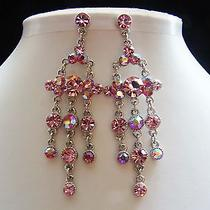 Bridal Chandelier Earrings Lt Rose Swarovski Crystal Party Earrings E2137a Photo