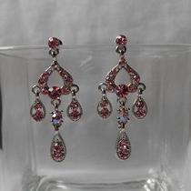 Bridal Chandelier Earrings Lt Rose Swarovski Crystal Wedding Earrings E2233 Photo