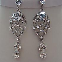 Bridal Dangle Earring Clear Swarovski Crystal Earrings Perfect Gift  E1144 Photo