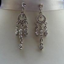 Bridal Dangle Earrings Clear Swarovski Crystal Bridesmaids Earrings E1067 Photo
