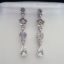 Bridal Dangle Earrings Clear Swarovski Crystal Bridesmaids Earrings E403 Photo