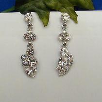 Bridal Dangle Earrings Clear Swarovski Crystal E1135 Photo