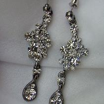 Bridal Dangle Earrings Clear Swarovski Crystal E1147 Photo