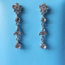Bridal Dangle Earrings Clear Swarovski Crystal Perfect Gift E1106 Photo