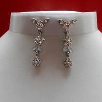 Bridal Dangle Earrings Floral Earrings Clear Swarovski Party Earrings E1065 Photo