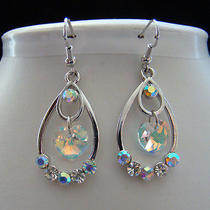 Bridal Dangle Earrings Heart Dangle Earrings Swarovski Crystal Heart E1075 Photo