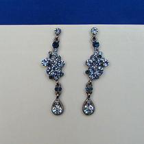 Bridal Dangle Earrings Lt Sapphire Swarovski Crystal E1147a Photo