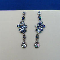 Bridal Dangle Earrings Lt Sapphire Swarovski Crystal E1147a Photo
