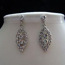 Bridal Dangle Earrings Swarovski Crystal Perfect Gift E1178 Photo