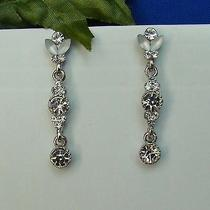 Bridal Dangle Earrings Swarovski Crystal Rhinestone Perfect Gift E1184 Photo