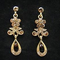 Bridal Dangle Earrings Topaz Swarovski Crystal E1167a Photo