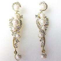 Bridal Drop Faux Pearl Chandelier Earrings Made With Swarovski Crystal Photo